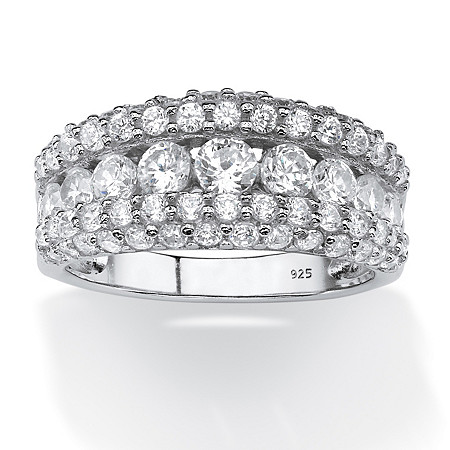 1.26 TCW Round Cubic Zirconia Row Ring in Platinum over Sterling Silver at PalmBeach Jewelry