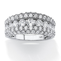 SETA JEWELRY 1.26 TCW Round Cubic Zirconia Row Ring in Platinum over Sterling Silver