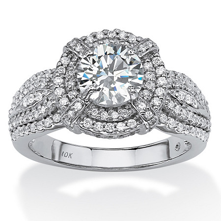 2.08 TCW Round Cubic Zirconia Double Halo Ring in 10k White Gold at PalmBeach Jewelry