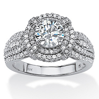 2.08 TCW Round Cubic Zirconia Double Halo Ring In 10k White Gold ONLY $240.00