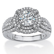 SETA JEWELRY 2.08 TCW Round Cubic Zirconia Double Halo Ring in 10k White Gold