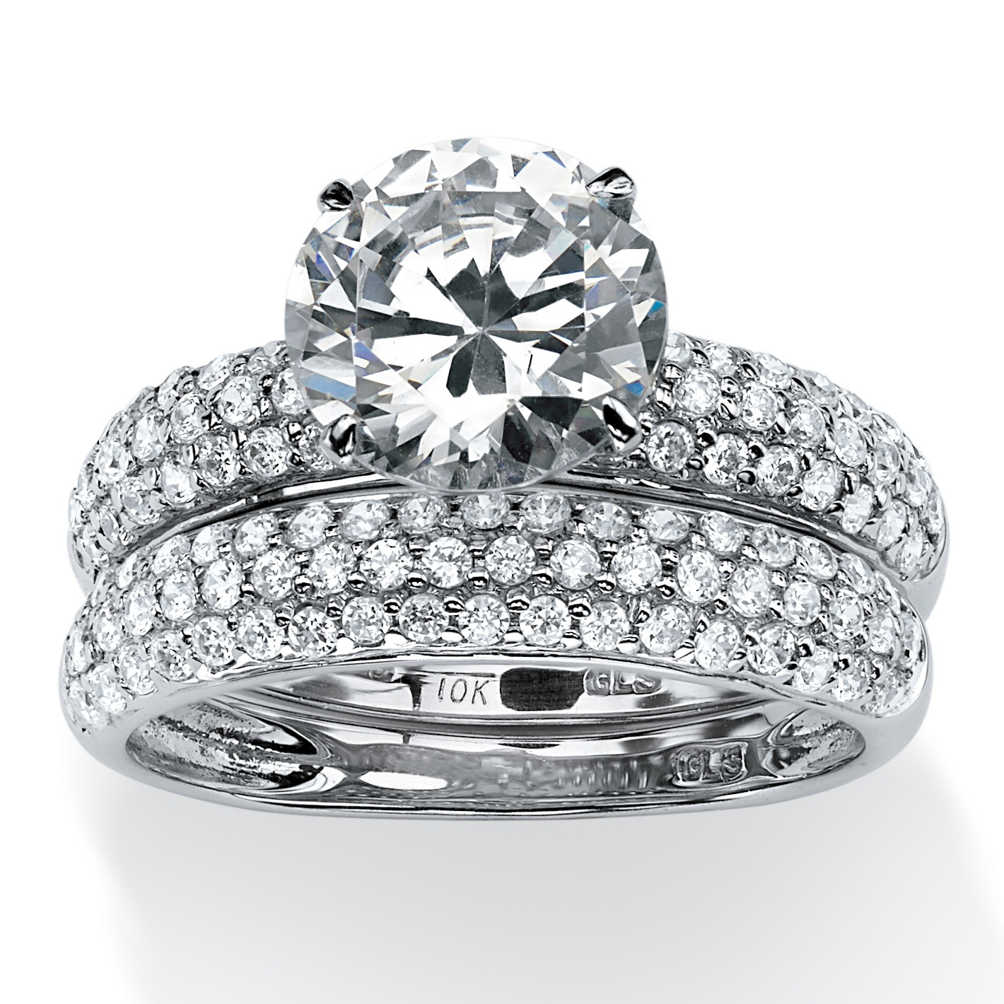 Cubic Zirconia Set Bands: 2 Piece 3.80 TCW Pave Cubic Zirconia Bridal Ring Set In