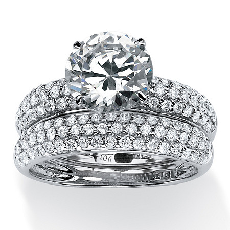 2 Piece 3.80 TCW Pave Cubic Zirconia Bridal Ring Set in Solid 10k White Gold at PalmBeach Jewelry
