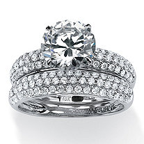 2 Piece 3.80 TCW Pave Cubic Zirconia Bridal Ring Set in Solid 10k White Gold