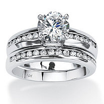 1.90 TCW Round Cubic Zirconia Solid 10k White Gold 2-Piece Channel-Set Bridal Ring Set