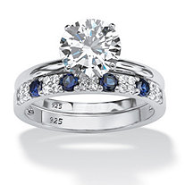 2.58 TCW Round Cubic Zirconia and Sapphire Bridal Set in Platinum over .925 Sterling Silver