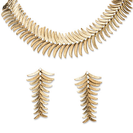 2 Piece Fern Necklace and Earrings Set in Yellow Gold Tone at PalmBeach Jewelry