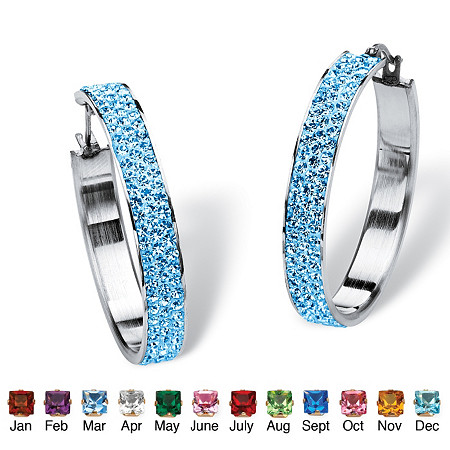 Pave Birthstone Hoop Earrings in Stainless Steel (1 1/2