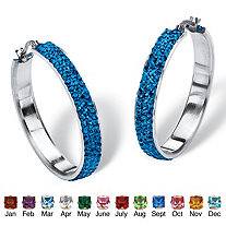 "Pave Simulated Birthstone Hoop Earrings in Stainless Steel (1 1/2"")"