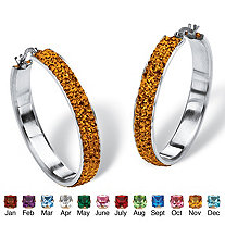 "Pave Birthstone Hoop Earrings in Stainless Steel (1 1/2"")"