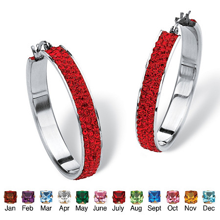 "Pave Simulated Birthstone Hoop Earrings in Stainless Steel (1 1/2"") at PalmBeach Jewelry"