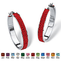Pave Simulated Birthstone Hoop Earrings in Stainless Steel (1 1/2