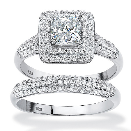 2 Piece 1.47 TCW Princess-Cut Cubic Zirconia Halo Bridal Ring Set in Platinum over Sterling Silver at PalmBeach Jewelry
