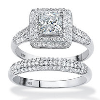 SETA JEWELRY 2 Piece 1.47 TCW Princess-Cut Cubic Zirconia Halo Bridal Ring Set in Platinum over Sterling Silver