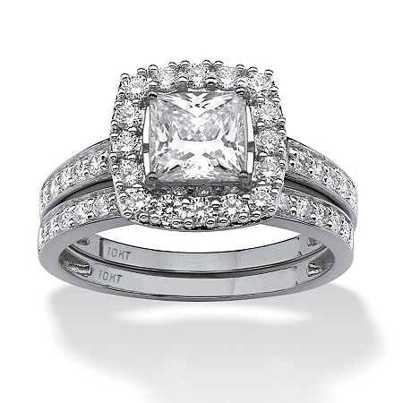 2 Piece 1.93 TCW Princess-Cut Cubic Zirconia Square Halo Bridal Ring Set in Solid 10k White Gold at PalmBeach Jewelry