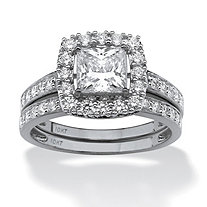 SETA JEWELRY 2 Piece 1.93 TCW Princess-Cut Cubic Zirconia Square Halo Bridal Ring Set in Solid 10k White Gold