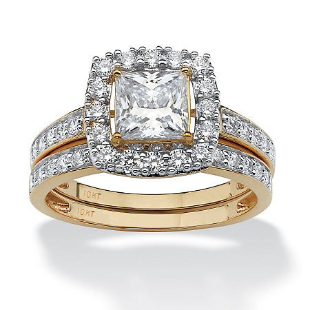 2 Piece 1.93 TCW Princess-Cut Cubic Zirconia Square Halo Bridal Ring Set in Solid 10k Gold at PalmBeach Jewelry