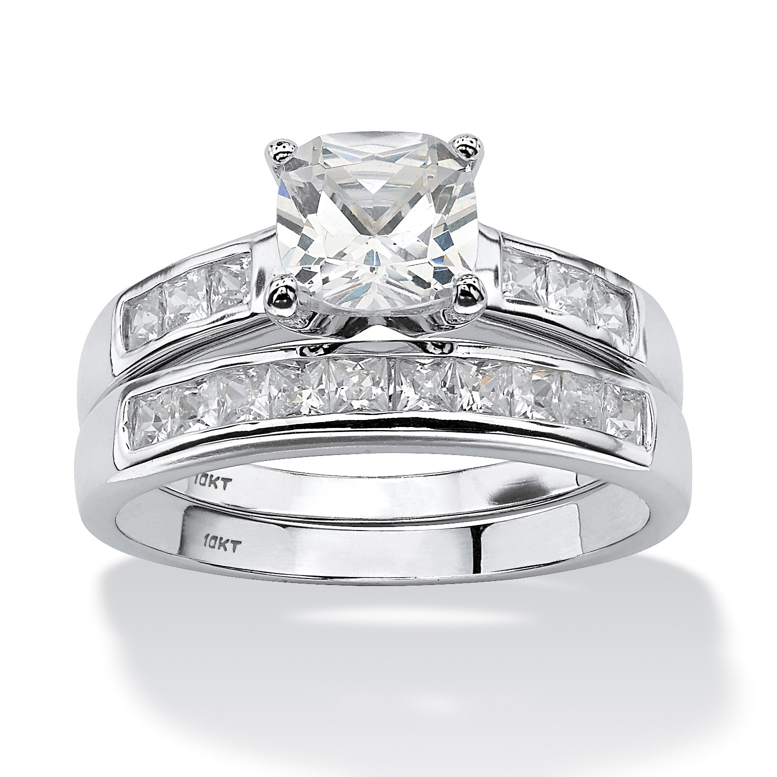 2 Piece 1 94 Tcw Cushion Cut Cubic Zirconia Bridal Ring Set In 10k White Gold At Palmbeach Jewelry