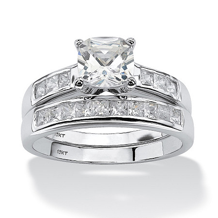 2 Piece 1.94 TCW Cushion-Cut Cubic Zirconia Bridal Ring Set in 10k White Gold at PalmBeach Jewelry
