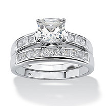 SETA JEWELRY 2 Piece 1.94 TCW Cushion-Cut Cubic Zirconia Bridal Ring Set in 10k White Gold