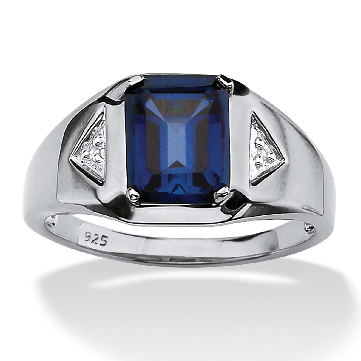 Men\'s 2.75 TCW Emerald-Cut Sapphire and Diamond Accented Ring in ...