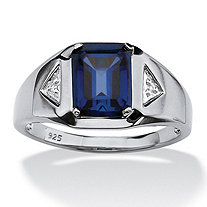 Men's 2.75 TCW Emerald-Cut Sapphire and Diamond Accented Ring in Platinum over Sterling Silver