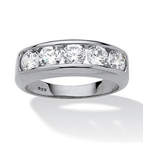 Men's 2.50 TCW Round Cubic Zirconia Ring in Platinum over Sterling Silver