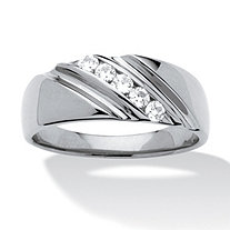 Men's .30 TCW Round Cubic Zirconia Diagonal Ring In Platinum over Sterling Silver