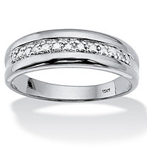 Men's 1/5 TCW Round Diamond Ring in 10k White Gold