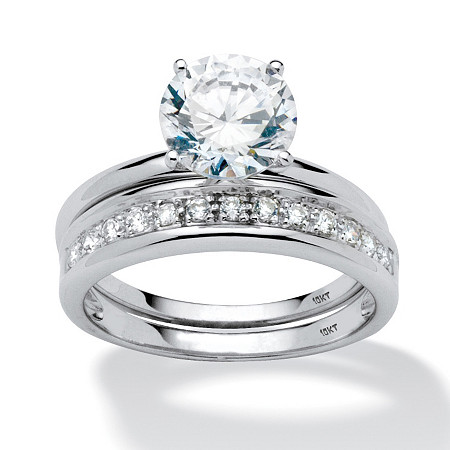 2 Piece 2.20 TCW Round Cubic Zirconia Bridal Ring Set in 10k White Gold at PalmBeach Jewelry