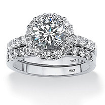 Round Cubic Zirconia 2-Piece Halo Bridal Ring Set 2.71 TCW in Solid 10k White Gold