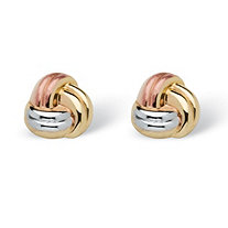 SETA JEWELRY Love Knot Earrings in Tri-Tone 10k Gold