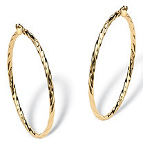 "Twisted Hoop Earrings in 10k Yellow Gold (1 3/4"")"