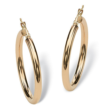 "Polished Hoop Earrings in 10k Yellow Gold  (1 1/4"") at PalmBeach Jewelry"