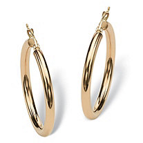 SETA JEWELRY Polished Hoop Earrings in 10k Yellow Gold  (1 1/4