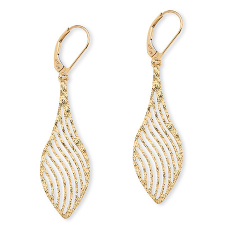 Laser-Cut Leaf Drop Earrings in 10k Yellow Gold at PalmBeach Jewelry