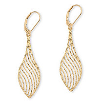 Laser-Cut Leaf Drop Earrings in 10k Yellow Gold