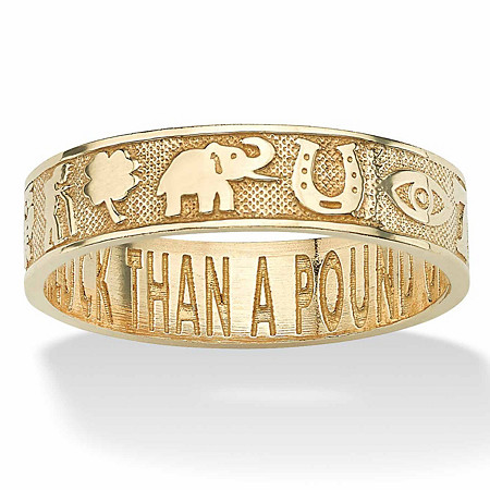 """Lucky Symbols """"Better an Ounce of Luck Than a Pound of Gold"""" Ring in Solid 10k Yellow Gold at PalmBeach Jewelry"""