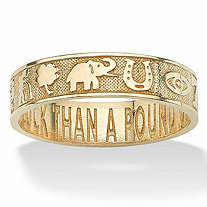 "Lucky Symbols ""Better an Ounce of Luck Than a Pound of Gold"" Ring in Solid 10k Yellow Gold"