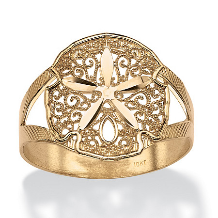 Filigree Sand Dollar Double-Shank Ring in 10k Yellow Gold at PalmBeach Jewelry
