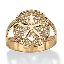 SETA JEWELRY Filigree Sand Dollar Double-Shank Ring in 10k Yellow Gold