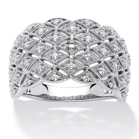 1/4 TCW Round Diamond Lattice Dome Ring in Platinum over Sterling Silver at PalmBeach Jewelry