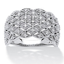 1/4 TCW Round Diamond Lattice Dome Ring in Platinum over Sterling Silver
