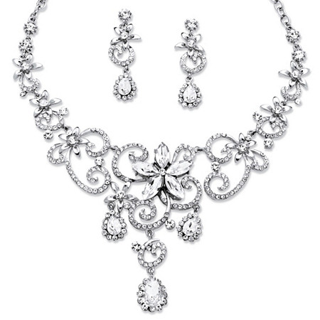 Swirl and Flower Crystal Necklace and Earrings Two-Piece Set in Platinum-Plated at PalmBeach Jewelry