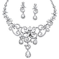 Swirl and Flower Crystal Necklace and Earrings Two-Piece Set in Platinum-Plated
