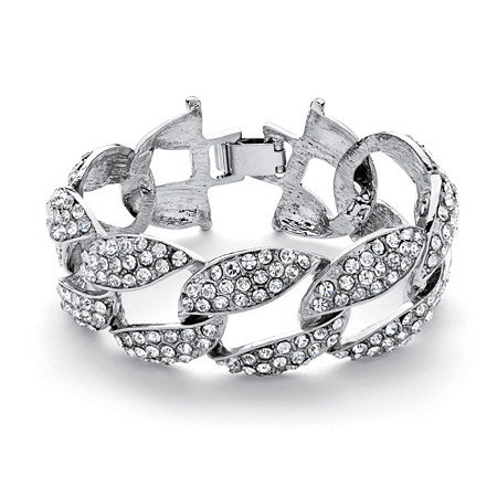 """Crystal Curb-Link Bracelet in Silvertone 8"""" (30mm) at PalmBeach Jewelry"""
