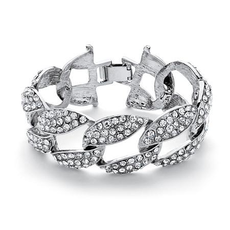 Crystal Curb-Link Bracelet in Silvertone 8