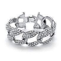 "Crystal Curb-Link Bracelet in Silvertone 8"" (30mm)"
