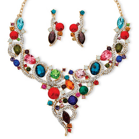 Multicolor Crystal Bib Necklace and Earrings Jewelry Set in Gold Tone at PalmBeach Jewelry