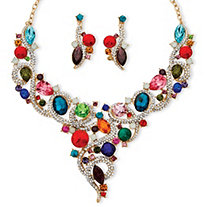 Multicolor Crystal Bib Necklace and Earrings Jewelry Set in Gold Tone